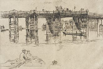 Sudden Shower over Shin-Ōhashi bridge and Atake - 'Old Putney Bridge' etching by Whistler from the 1870s