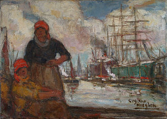 Eugeen Van Mieghem - Women of the docks (Antwerp), Eugeen van Mieghem, Oil on canvas