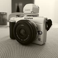 Olympus E-PL1 with Olympus VF-2 electronic view finder and Panasonic Lumix G 20mm F1.7 Asph. lens.jpg