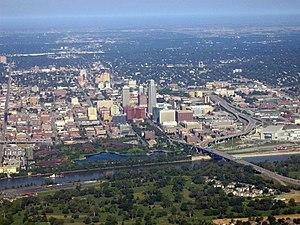 Aerial view of downtown Omaha, Nebraska, Unite...