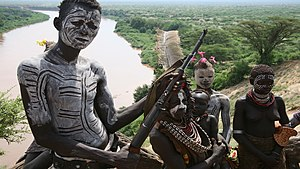 Children in the military - Children of the Omo Valley in Ethiopia.