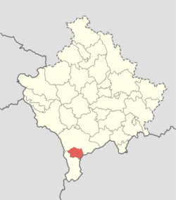 Opolje location within the Prizren municipality.