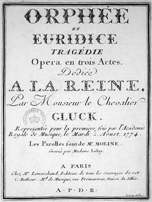 Orfeo ed Euridice - Title page of the 1774 French version, as published by Lemarchand
