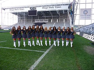Forsyth Barr Stadium - Otago Dancers practice for a performance at the Bledisloe Cup.