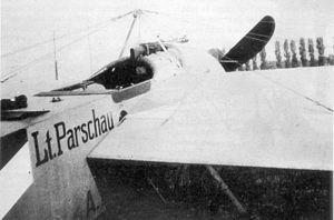 "Fokker Eindecker fighters - A close-up photo of Otto Parschau's first Fokker monoplane, armed with a synchronized Parabellum MG14 machine gun in May 1915, which essentially became the ""prototype"" Fokker Eindecker."
