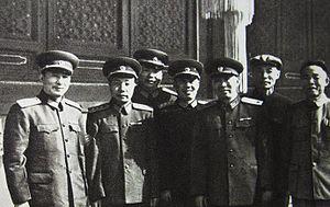 Chen Bojun - PLA generals on October 1, 1949. From left: Xiao Xiangrong, Xiao Hua, Chen Xilian, Chen Bojun, Liu Yalou, Lü Zhengcao, Han Xianchu.