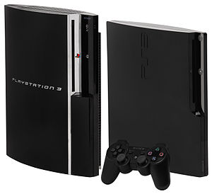 PlayStation - Original (left) and slim (right) PlayStation 3 consoles with the DualShock 3 controller