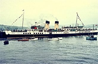 PS Waverley - The Waverley with red lions and yellow funnels in 1970