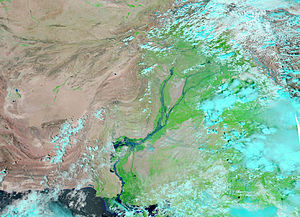 A NASA satellite image of Pakistan showing flood situation of the river Indus during 2010 Pakistan floods