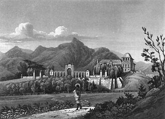 Paço de São Cristóvão - View of the Quinta da Boa Vista with the Paço de São Cristóvão in the early 19th century, before the Neoclassical intervention.