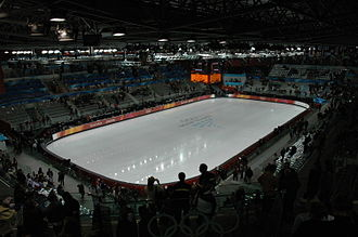 Venues of the 2006 Winter Olympics - Torino Palavela during the 2006 Winter Olympics. The venue hosted the figure skating and short track speed skating events during those games.