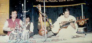 Das Gupta at a concert accompanied by Pandit Chandra Nath Shastri with tabla, Calcutta, 1987.