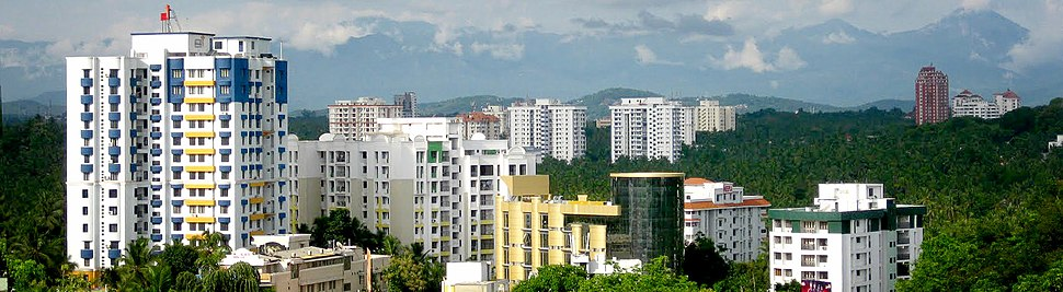 View of Pattom, the north eastern part of the city. The Western Ghats mountain range is seen in the background