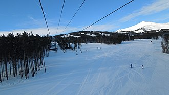 Breckenridge Ski Resort - Peak 9 is composed of intermediate terrain, as well as beginner terrain on the lower slopes and chutes on the north face