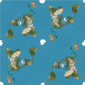 Peirce quincuncial projection - Tessellated version of the Peirce quincuncial map