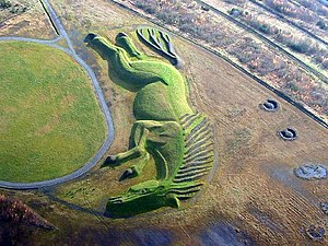 Penallta Colliery - The pit pony sculpture, constructed from the spoil tip.