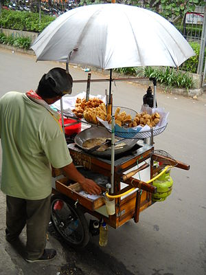 Fritter - Gorengan, Indonesian assorted fritter street vendor