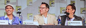 Person of Interest (TV series) - Left to right: Jim Caviezel (Reese), Michael Emerson (Finch), and Kevin Chapman (Fusco)