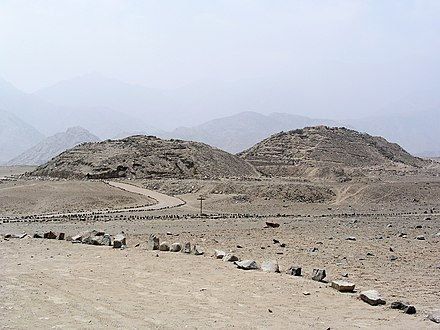 Remains of the two main Norte Chico pyramids in the arid Supe Valley PeruCaral01.jpg