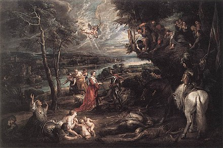 Rubens depicted Charles as a victorious and chivalrous Saint George in an English landscape, 1629-30. Peter Paul Rubens - Landscape with Saint George and the Dragon - WGA20401.jpg