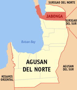 Map of Agusan del Norte with Jabonga highlighted