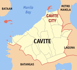 Map of Cavite showing the location of Cavite City.