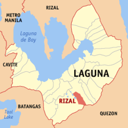 Map of Laguna showing the location of Rizal.