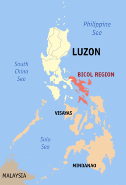 Map of the Philippines showing the location of Bicol Region