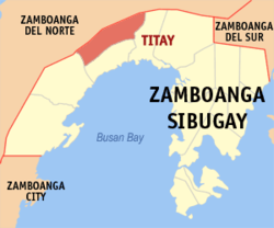 Map of Zamboanga Sibugay with Titay highlighted
