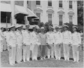 Photograph of President Truman posing on the White House lawn with officers from eight U.S. Navy aircraft carriers... - NARA - 199404.tif