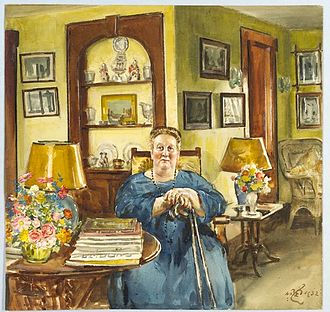 Elisabeth Marbury - William Bruce Ellis Ranken (1881-1941)/LOC cph.3c13318. Photograph of painting by William Rankin of Elisabeth Marbury in her summer home