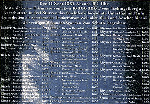 Glarus Süd - Monument to the dead in Elm in the 1881 avalanche