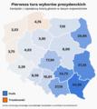 Pierwsza tura wyborów prezydenckich 2020, Duda vs. Trzaskowski, z przewagą w pp.png