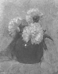 Piet Mondriaan - Three chrysanthemum blossoms in a round pot - A102 - Piet Mondrian, catalogue raisonné.jpg