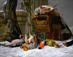 Pieter Boel - Still life with dead game and songbirds in the snow