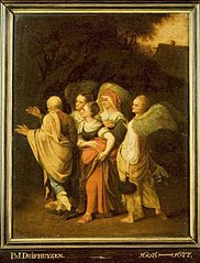 Lot and his Daughters being taken away by the Angels from the City of Sodom
