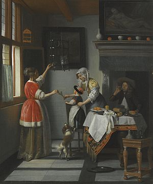 Interior with a Child Feeding a Parrot - Image: Pieter de Hooch, Interior with a Child Feeding a Parrot