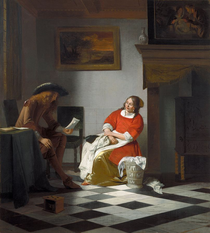 Man reading letter to a woman