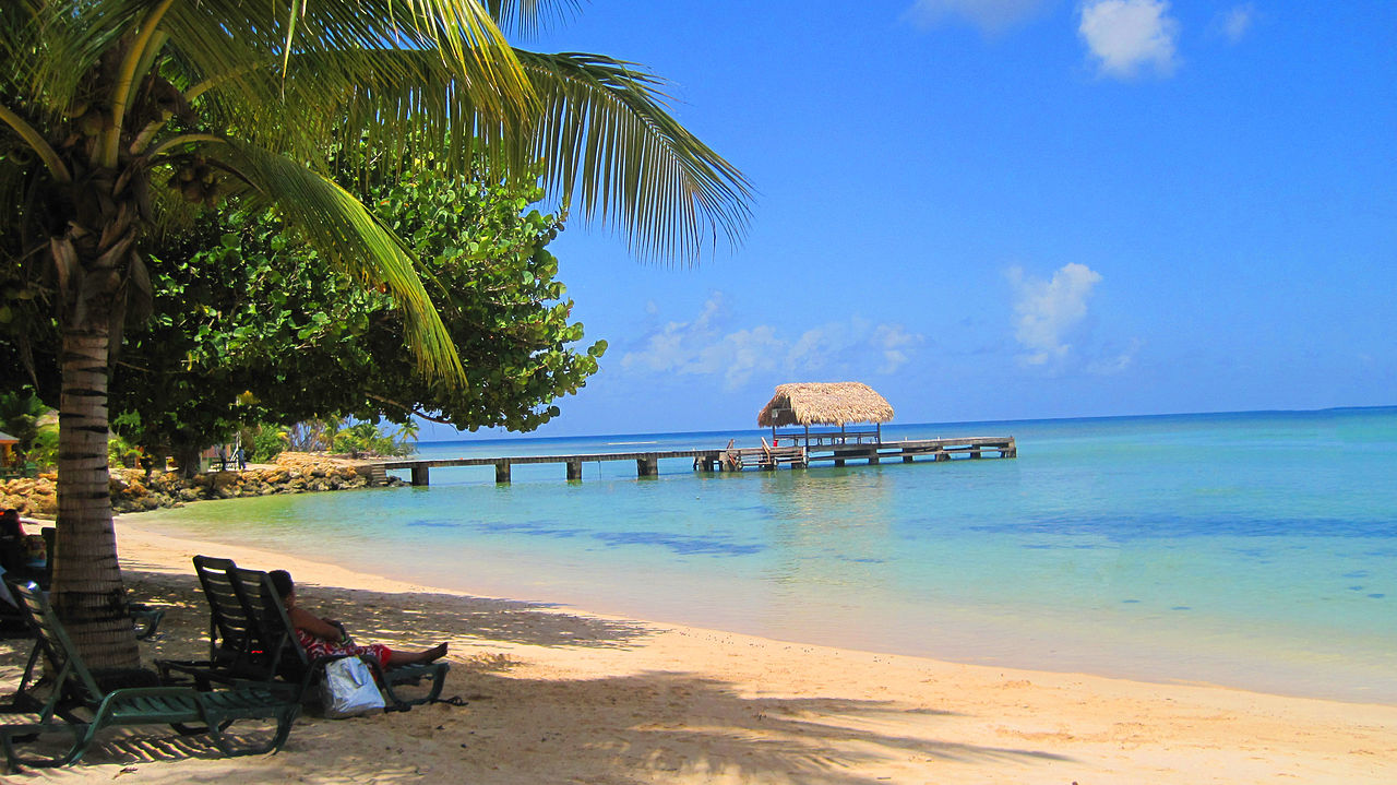 Turis di pantai Pigeon Point, Tobago