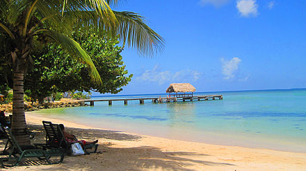 Tourists at Pigeon Point beach, Tobago Pigeon Point beach.jpg