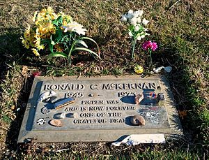 "Ron ""Pigpen"" McKernan - McKernan's headstone in Alta Mesa Memorial Park. The inscription reads ""Pigpen was and is now forever one of the Grateful Dead""."
