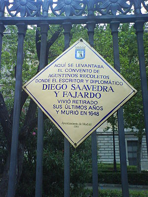 Convento de los Agustinos Recoletos (Madrid) - Plaque in memory to the Convent at the National Library of Spain's door.