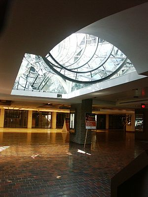 Underground City, Montreal - Skylight in Place des Arts corridor towards Metro station