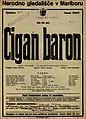 Plakat za predstavo Cigan baron v Narodnem gledališču v Mariboru 22. maja 1927.jpg