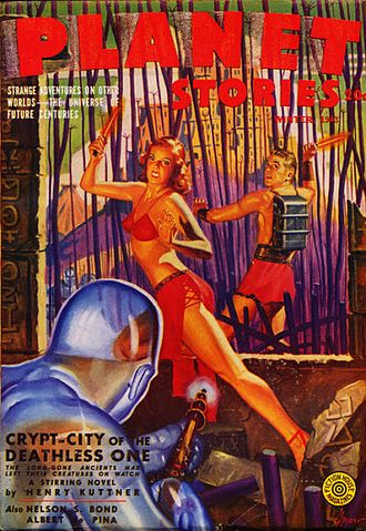 """Henry Kuttner - Kuttner's novella """"Crypt-City of the Deathless One"""" was the cover story for the Winter 1943 issue of Planet Stories"""