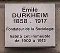 Plaque Émile Durkheim 260 rue Saint-Jacques Paris.jpg