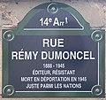 Plaque Rue Rémy Dumoncel - Paris XIV (FR75) - 2021-07-31 - 1.jpg