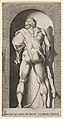 Plate 15- Hercules standing in a niche, wearing a lion skin and holding a club, viewed from behind, with his head turned to the left, from a series of mythological gods and goddesses MET DP830880.jpg