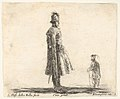 Plate 20- an old Polish nobleman wearing a plumed hat in center, standing in profile facing right, another Polish man to right in background, standing in profile facing left, from 'Diversi capricci' MET DP833167.jpg