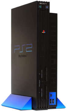 A PlayStation 2 in the original black colour
